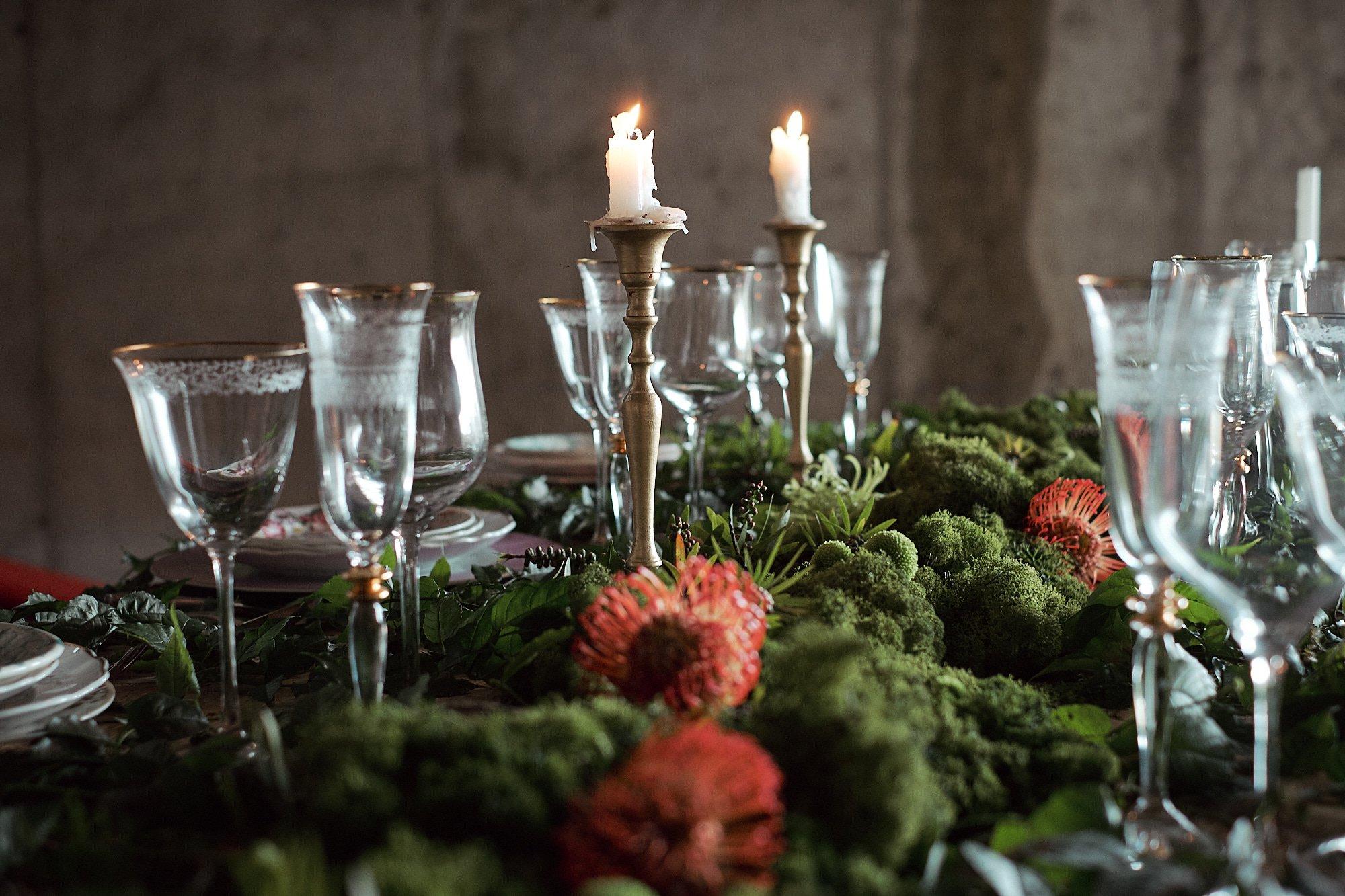 mesa con velas de boda